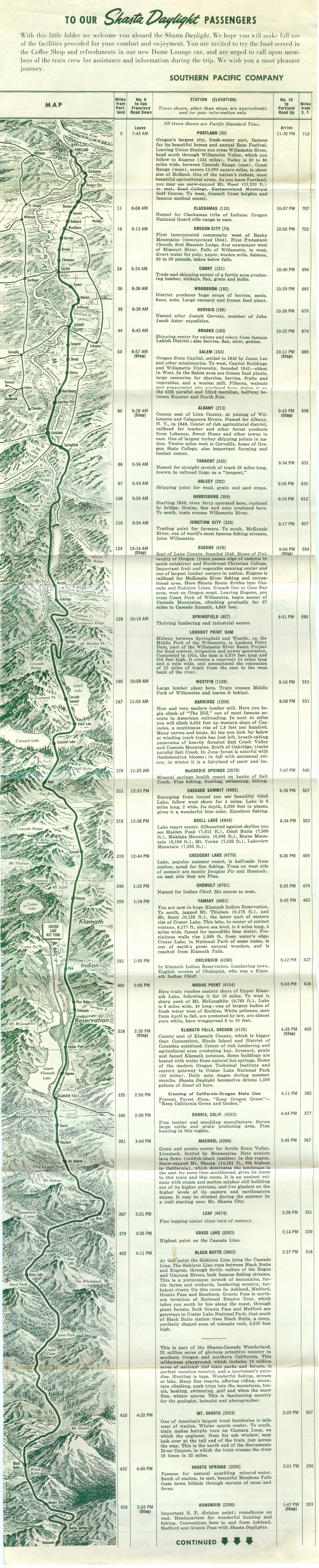 Southern Pacific Shasta Daylight Brochure